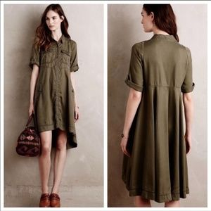Anthro Holding Horses Military Swing Shirt Dress
